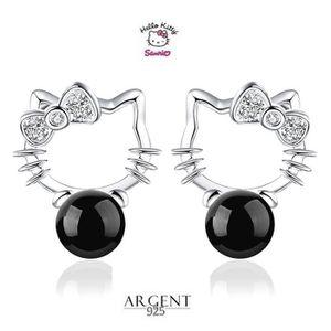Boucle d'oreille Boucles D'oreille Hello Kitty Perle Noir Argent