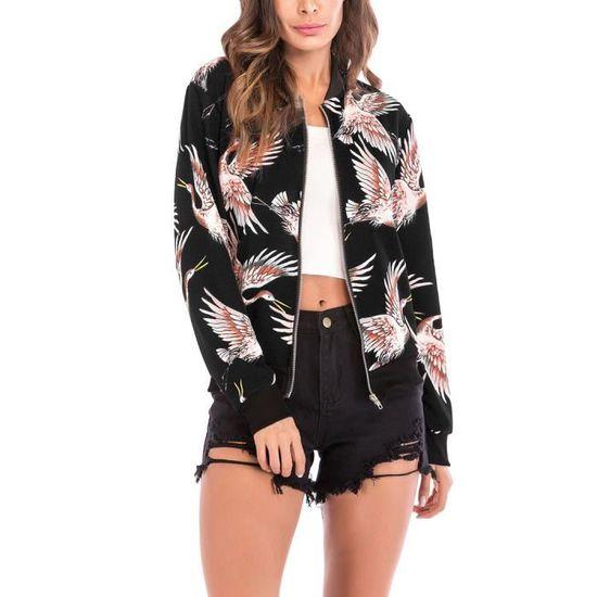 Bombers Vogue Imprimé Femme Veste Zippé Grande Jacket Blouson Manche AqwXann7v