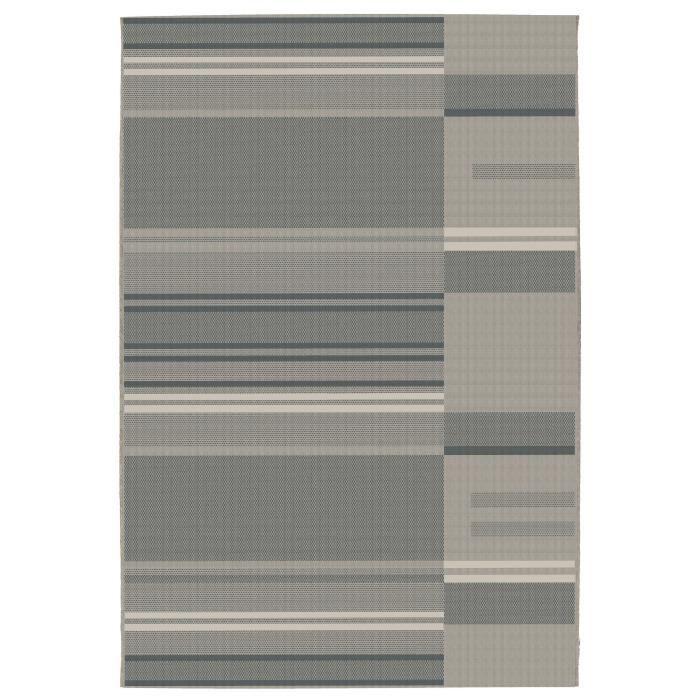 Tapis relax et naturel - 100% polypropylène - 120 x 170 cm - Sable / AnthraciteTAPIS - DESSOUS DE TAPIS