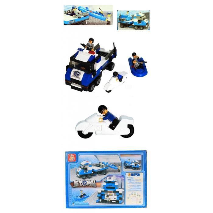 Briques Compatibles Lego - Construction - Police - Le Camion De Police Et Son Zodiac - Sluban