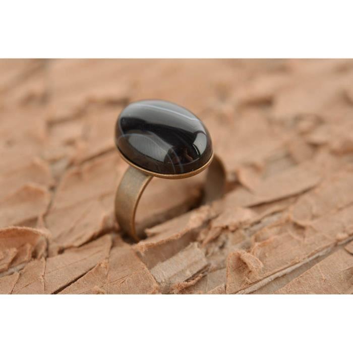 279a58d66253b Bague avec pierre noire Bijou fait main métallique réglable Cadeau pour  femme - 51184869
