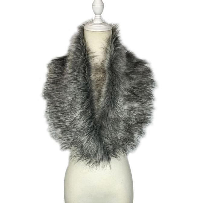 Echarpe Collar de col en fausse fourrure étole GY Gris - Achat ... 5d713cbe2ff