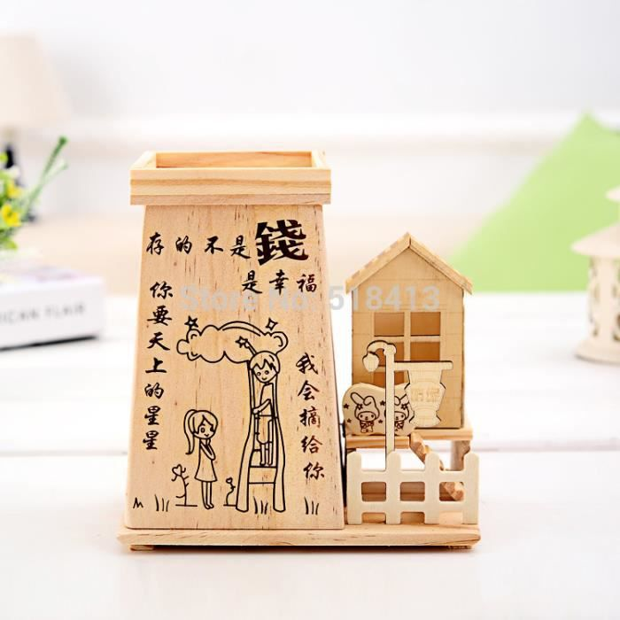Tirelire fashion maison en bois avec les gar ons et les for Achat maison en bois