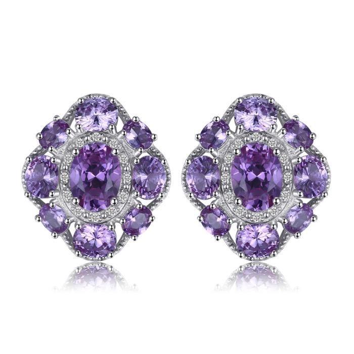 JewelryPalace 4.6ct Alexandrite Saphir de Synthèse Clous et Puces Boucles dOreilles en Argent Sterling 925