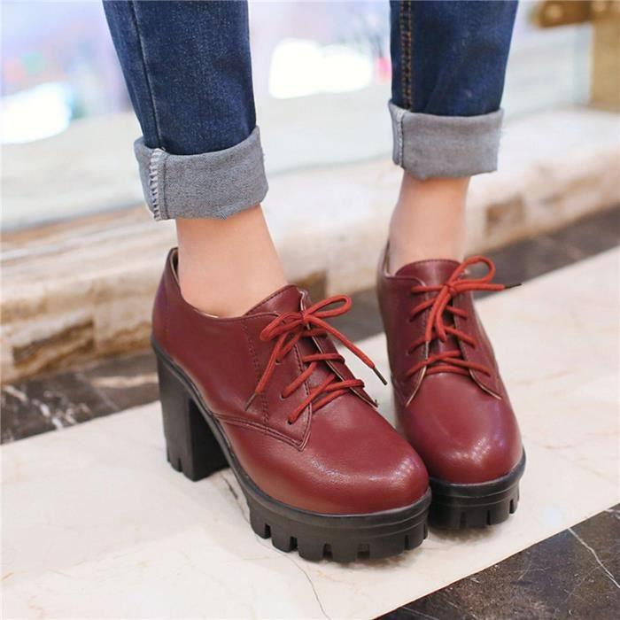 Chaussures Femme Plateforme En PU Cuir Ronde élégante Lacets Toutes les pointures de la 35 à la 43