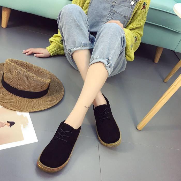 Femmes dames douces cheville plat Martin chaussures femmes en daim floqué lacets bottes Noir XKO243 SFnLhXRv2