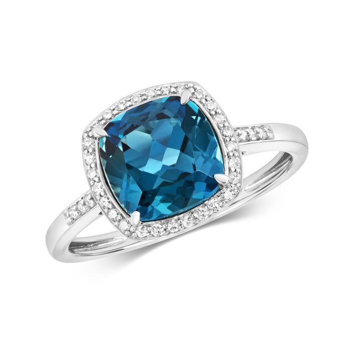 Bague Femme Pavage Or Blanc 375-1000 et Diamant Brillant 0.12 Carat avec Topaze Bleue de Londres 37404