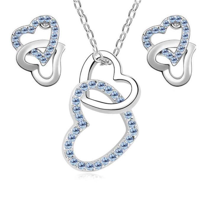 Parure coeurs croisés cristaux swarovski elements plaqué or blanc Couleur Bleu