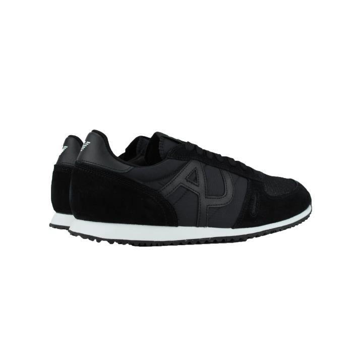 Armani Jeans Chaussure Noir Basse en Cuir pour homme qiRig