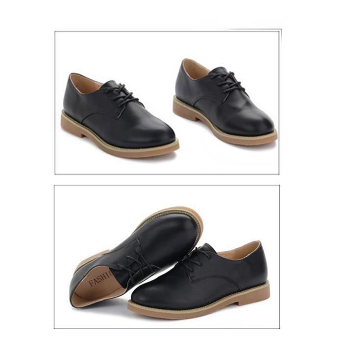 Chaussure Femme Cuir Confortable mode Mocassion chaussures de ville BTYS-XZ214Noir36
