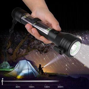 MARTEAU BRISE VITRE 6 en 1 Lampe poche à énergie solaire Marteau multi