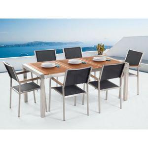 2cc045cdde844a SALON DE JARDIN Ensemble de jardin table 180 cm et 6 chaises noire