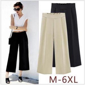 Kingwing® Femme taille élastique solide plissé veau-longueur pantalon  grande taille 0ca096a5bec2