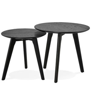 TABLE BASSE Set de 2 Tables basses scandinave ronde noire