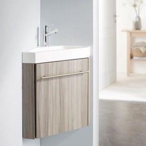 LAVE-MAIN Pack meuble lave-mains d'angle couleur olme gris