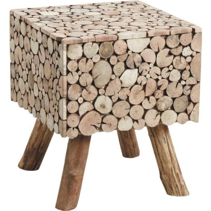 Table d 39 appoint carr e rondins en sapin 40x40x47cm achat - Table d appoint carree ...