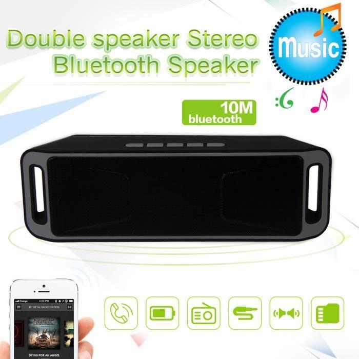 Tenoens® Mini Haut-parleur Portable Récent Stéréo Bluetooth Sans Fil Usb Tf Fm Mic Gris_poi307