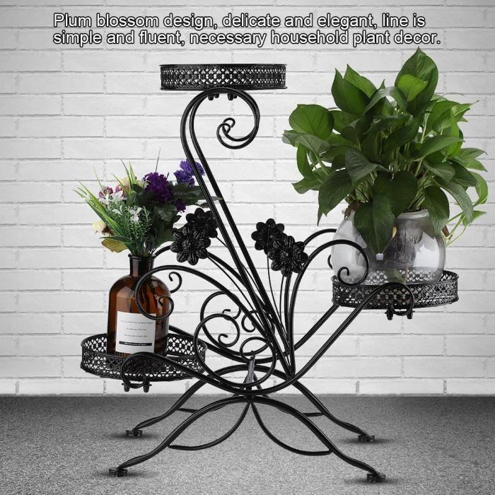 Etagere Porte Pots De Plante Fleurs En Fer Balcon Noir Achat