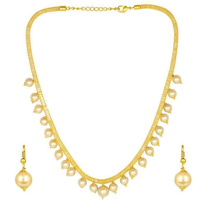 Américaine diamant rempli dor de la chaîne nette des femmes avec des perles gouttes Collier Set bijoux M494C