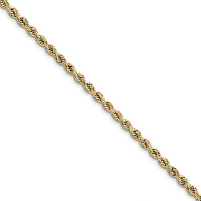 3,65 mm 14 carats Bracelet chaine de corde à la main-Tige régulière - 7 -