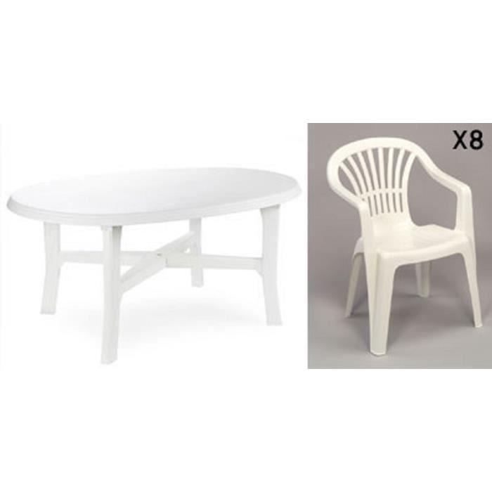 Table ovale blanche + 8 fauteuils jardin plastique blanc empilables ...