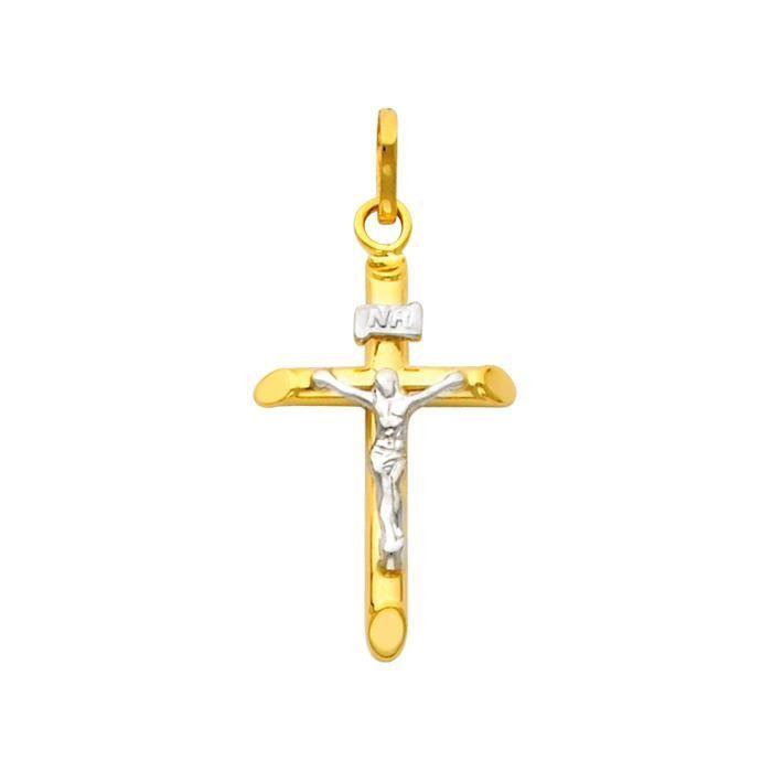 Collier Pendentif14 ct Or 585/1000 Deux ton Dainty Crucifix Pendant (vient avec une Chaîne de 45 cm)