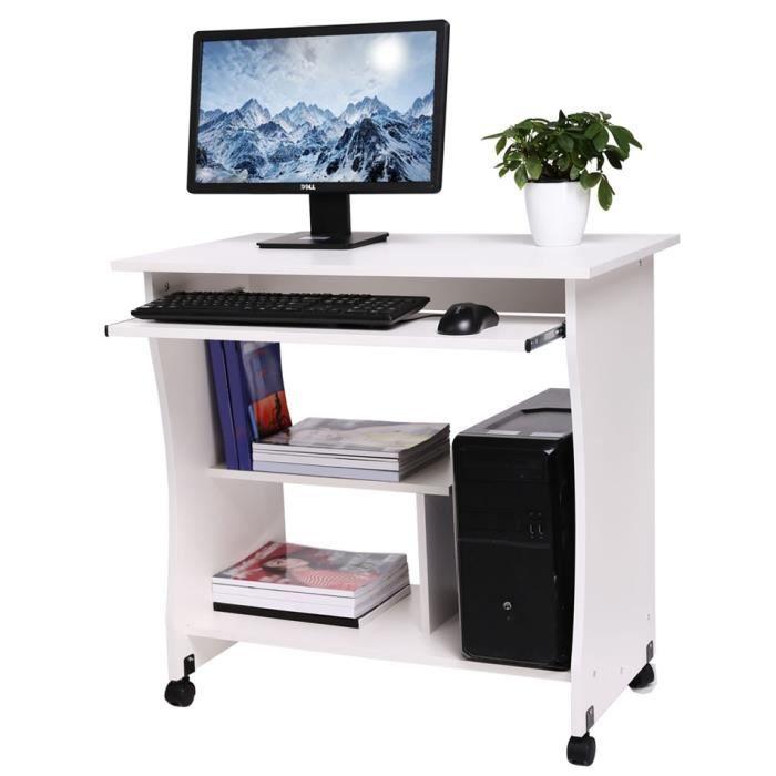 table ordinateur 80cm bois pr clavier tablette blanc - achat