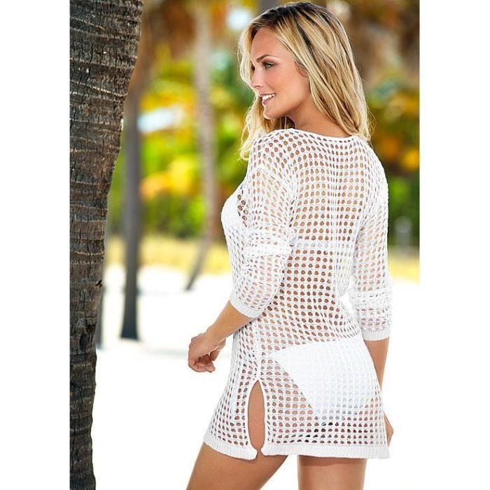 Robe de plage crochet tricot par o tunique ajour sexy femme fille d t 2017 taille unique - Tunique de plage femme ...