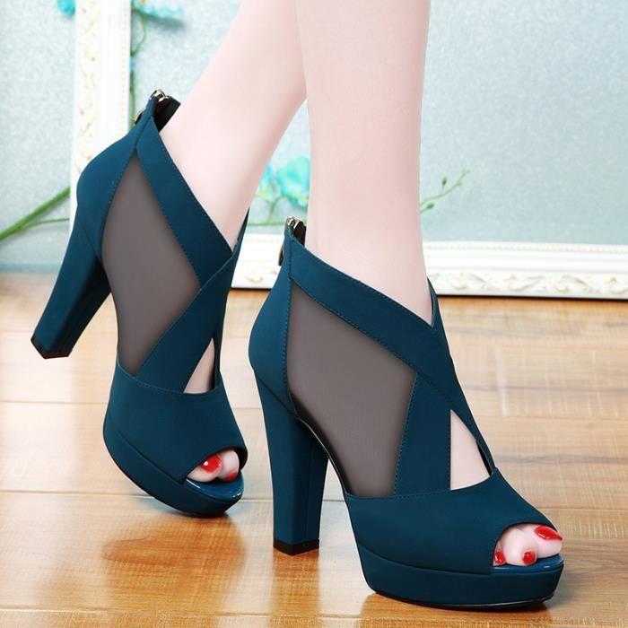Hotskynie®Mode Dames femmes Carré talons hauts sandales flip flop de poisson bouche Rose*LMH80102551PK M6DaAZjELn