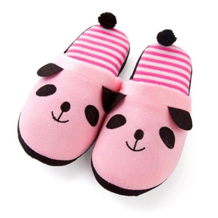 Pantoufles Cartoon Animaux Hiver Chaud Peluche Panda slippers XX-XZ037Rose40