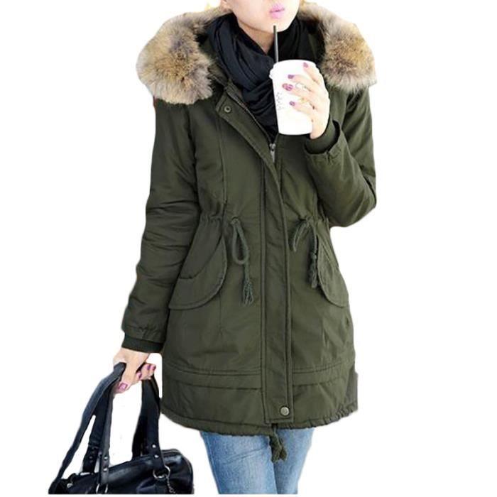 plus de photos 0ced3 32cd2 Parka pour a capuche Femme Marque Luxe Vêtements hiver a la mode slim col  en fausse fourrure et longue Vêtement Femme