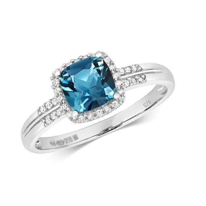 Bague Femme Pavage Or Blanc 375-1000 et Diamant Brillant 0.10 Carat avec Topaze Bleue de Londres 37416