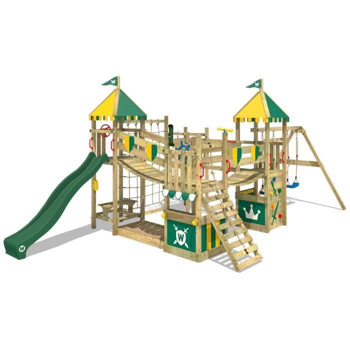 Aire de jeux wickey smart king avec balan oire et toboggan achat vente station de jeux for Portique en bois avec toboggan