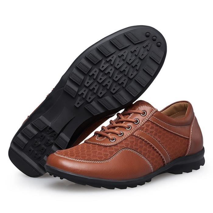 Mode Hommes Mocassins en cuir véritable Chaussures Printemps - Été Mesh Hommes Chaussures Hommes Casual Flats Oxford transpirant fHPpU8