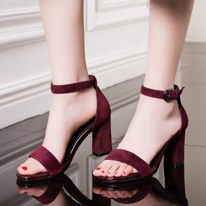 Été nouvelles femmes & # 39; tête carrée de sandales pieds rugueux avec des chaussures à talons hauts,noir,35