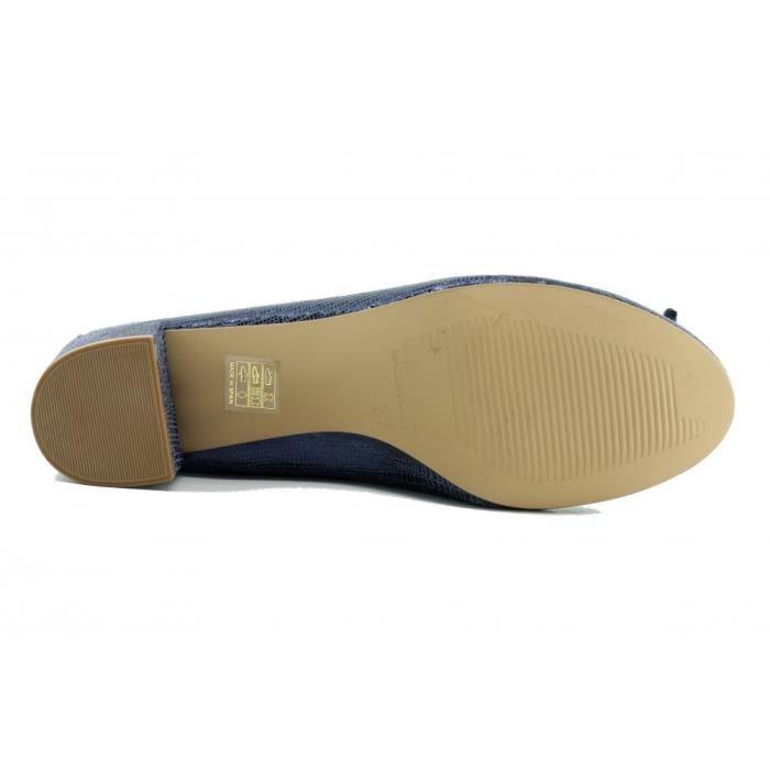 Laetitia - Chaussure Femme trotteur à talon de qualité escarpins fabriquée en Espagne marque Angelina cuir bleu marine