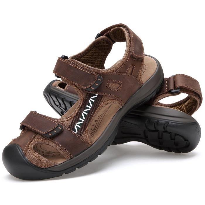 Sandales sport en cuir pour hommes Sandales d'été en plein air Pêcheur Respirant Sport Plage GQN4H Taille-41