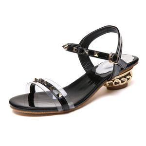 6f251a8c2c80bf SANDALE - NU-PIEDS Mesdames été Rivet Mode Boucle Sandales Chaussures ...