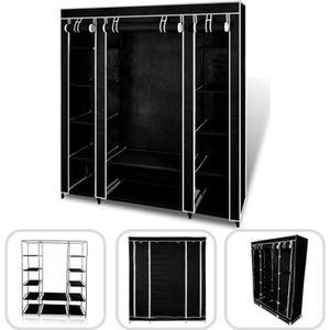 PENDERIE MOBILE Armoire penderie noire en tissu 3 portes