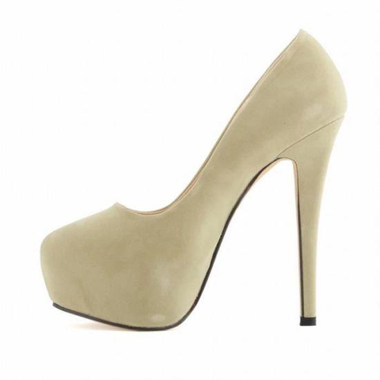 Chaussures avec plateforme stiletto chaussures a talons hauts pour le mariage pour femmes filles abricot 41 Blanc Abricot - Achat / Vente escarpin