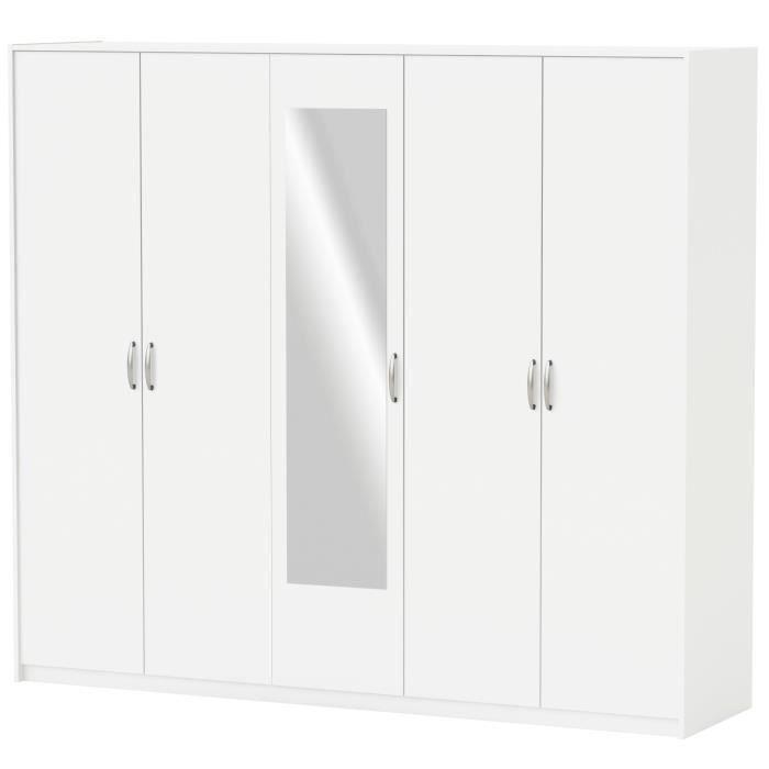 Panneaux de particules blanc perle - L 216 x P 55 x H 191,5 cm - 5 portes, 2 barres de penderie et 3 rayonsARMOIRE DE CHAMBRE