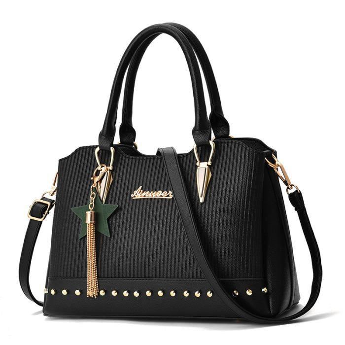 sac à mainFashion Design Rivet couleur solide Femme Sac Sac de processus gaufrée de femmes -372