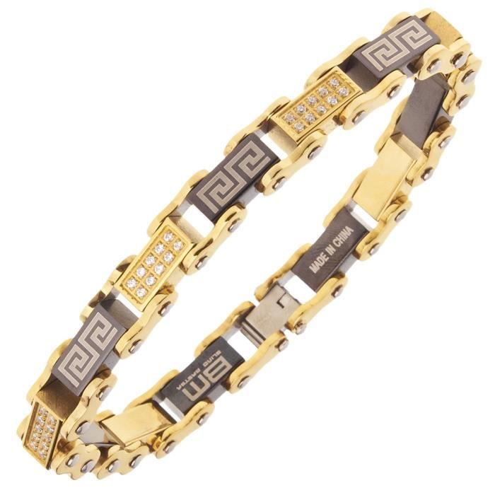 Iced Out Acier Inoxydable Micro Pave Bracelet - 10mm or