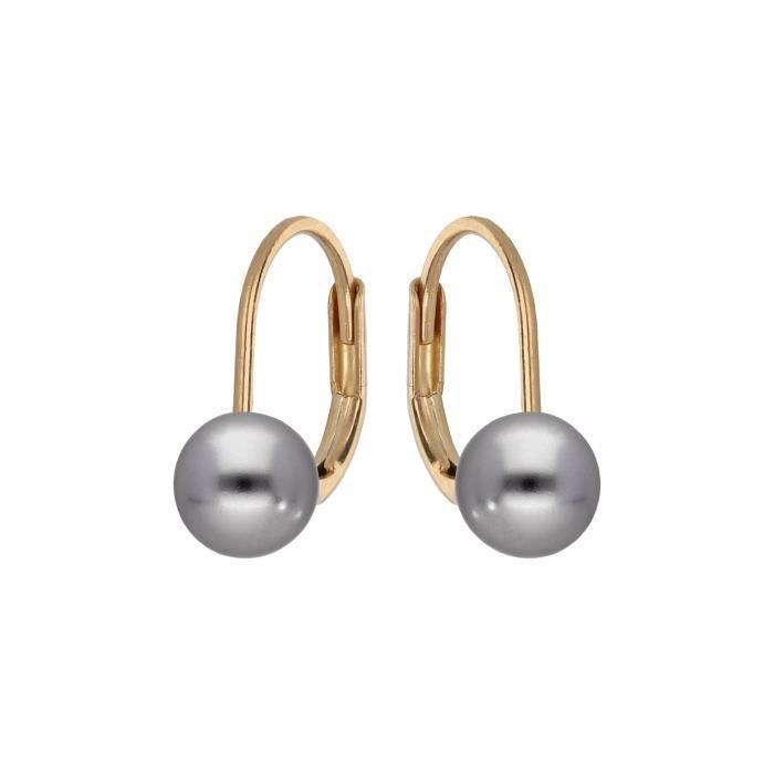 Boucles d'Oreille Dormeuses Perle 8 mm Or Jaune 24 Carats GF*