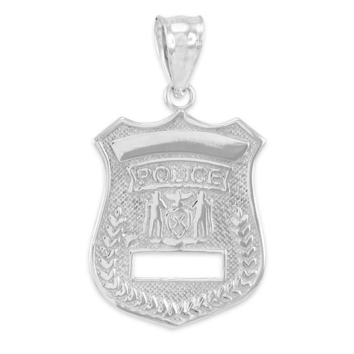 Collier Pendentif14 ct Or Blanc 585/1000 police Insigne-