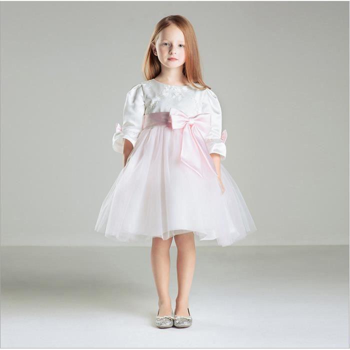 Fleur fille robe fille princesse jupe soixante-un jour fête des enfants habillement enfants robe de mariée blanche jupe été