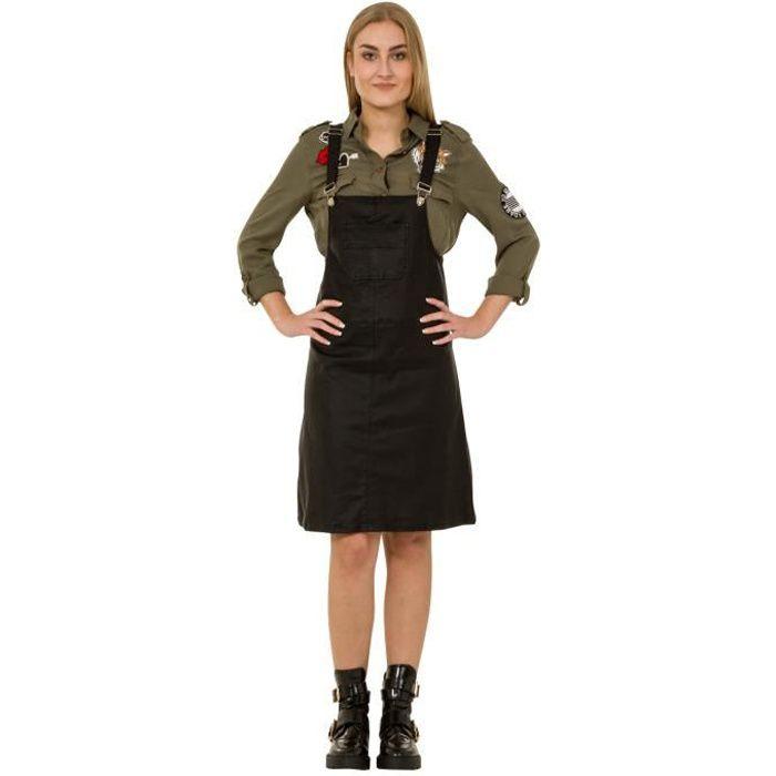 26270d3165e Jupe Salopette - Effet cuir - Noir robe de Salopette chasuble jean denim