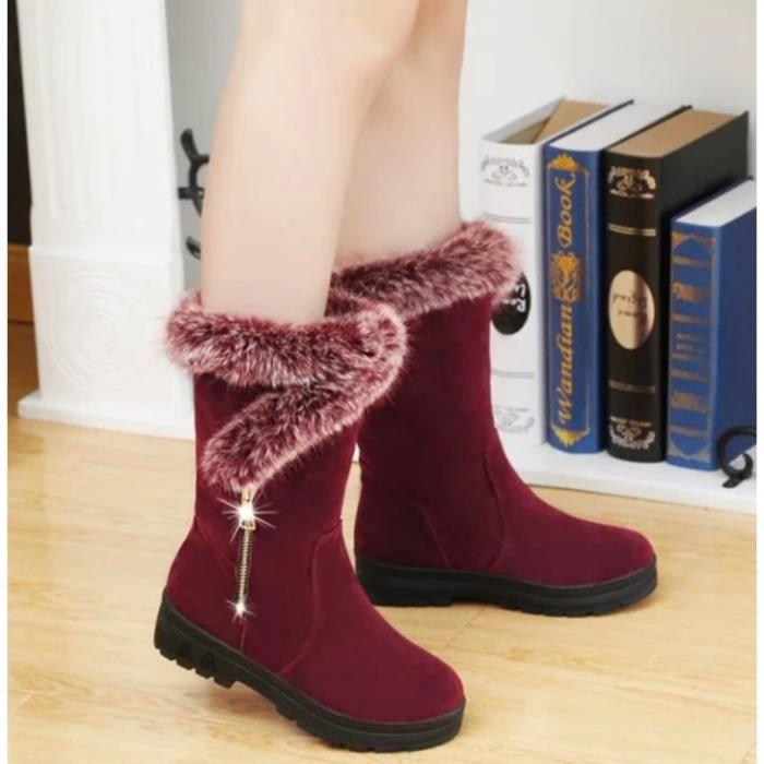 OLALI® Vente Chaude Chaussures Femmes Bottes femmes Neige Bottes avec Fourrure D'hiverbottes