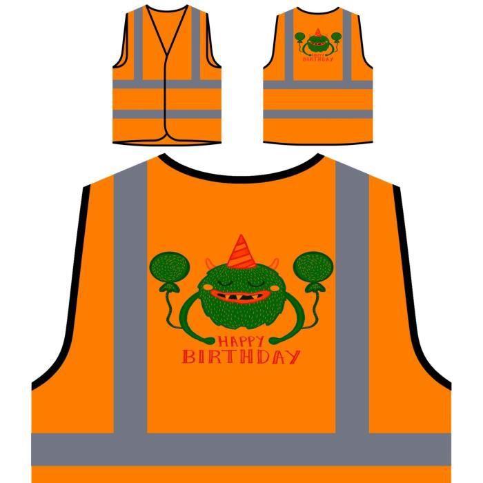 Personnalisée Ha Veste Monstre Haute Avec À De Visibilité anniversaire Orange Protection q4wRZftU