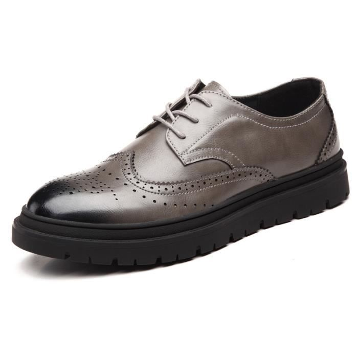 JOZSI Chaussure Homme Cuir Automne et Hiver Classique mode de ville SHT-XZ187Gris38